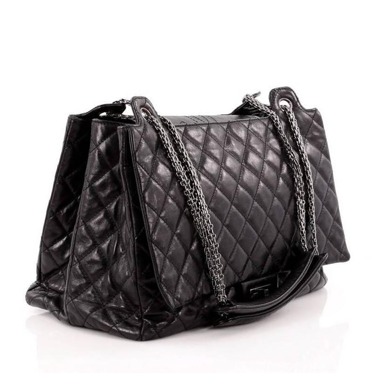 15020b04341f8d Black Chanel Accordion Reissue Flap Bag Quilted Calfskin XL For Sale