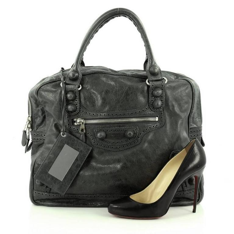 This Authentic Balenciaga Office Covered Giant Brogues Handbag Leather Is A Stylish Tote Perfect For Everyday