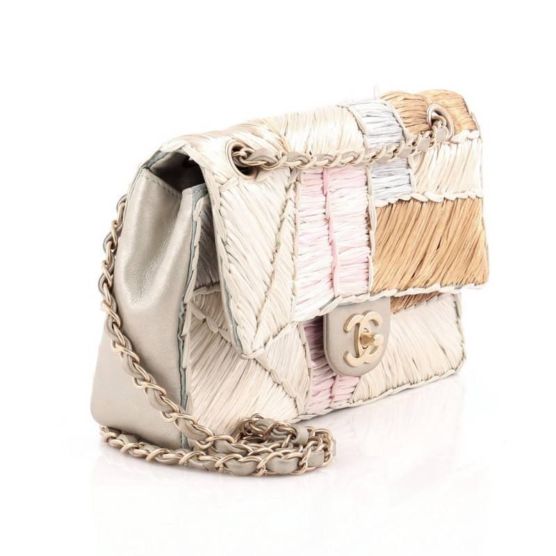 6042379a0f47ac Chanel Classic Flap Bag Raffia Patchwork Medium at 1stdibs