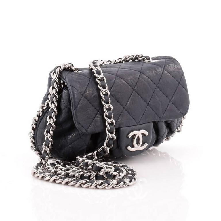 cfeae41f303 Black Chanel Chain Around Flap Bag Quilted Leather Small For Sale