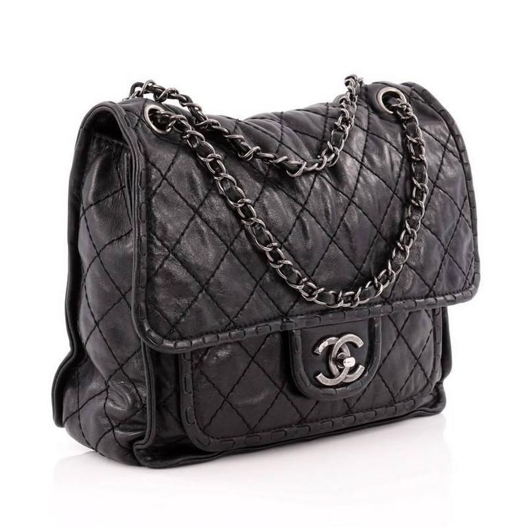 cb45715ff206 Black Chanel Paris-Edinburgh Square Flap Bag Quilted Aged Calfskin For Sale