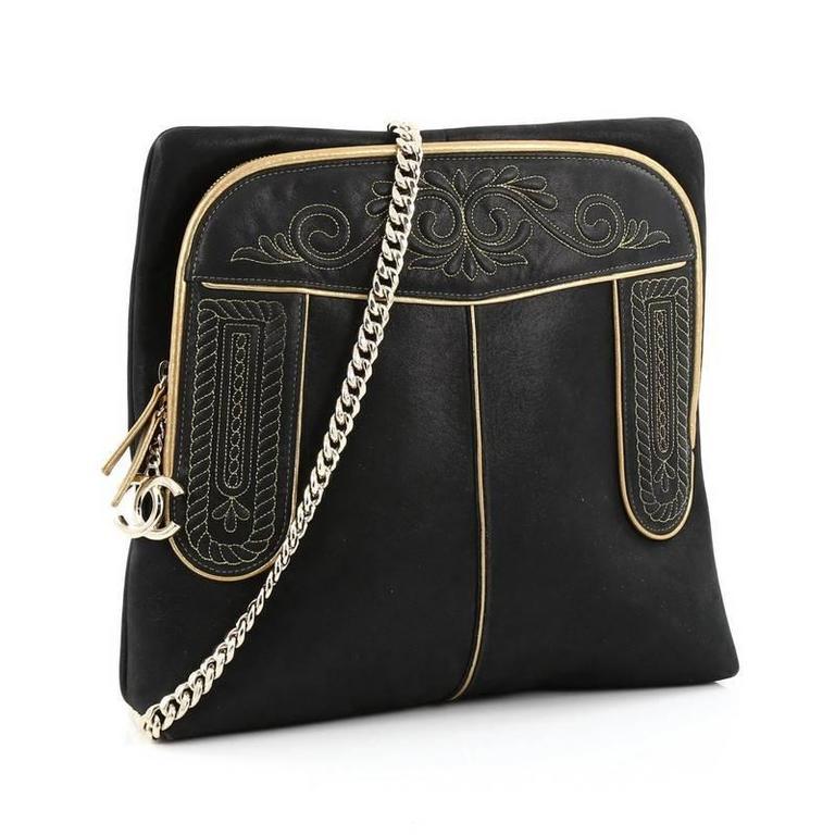 Black Chanel Paris-Salzburg Chain Backpack Embroidered Iridescent Calfskin Medium For Sale