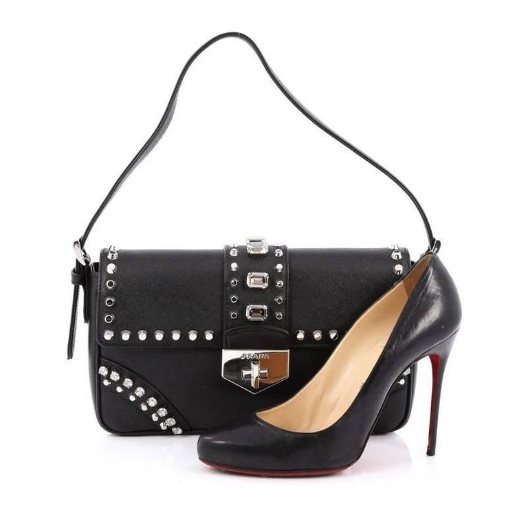 cb3354c972c1 Prada Turnlock Flap Shoulder Bag Studded Saffiano Leather Medium at 1stdibs