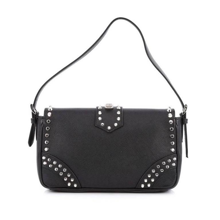 0013df545af5 Prada Turnlock Flap Shoulder Bag Studded Saffiano Leather Medium at 1stdibs