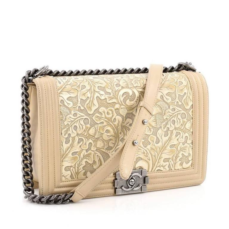 Beige Chanel Cordoba Boy Flap Bag Leather New Medium For Sale