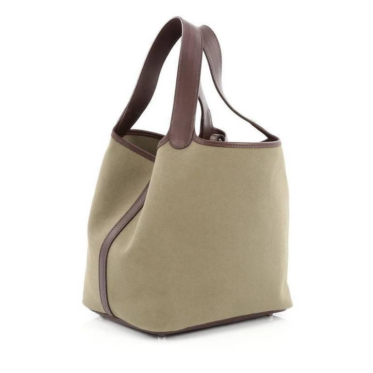 56feba7bbec8 Brown Hermes Picotin Handbag Toile and Leather MM For Sale