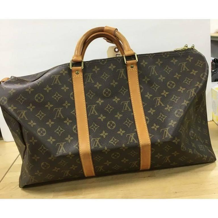 25e8da0d27bf Louis Vuitton Keepall Bag Monogram Canvas 50 In Fair Condition For Sale In New  York