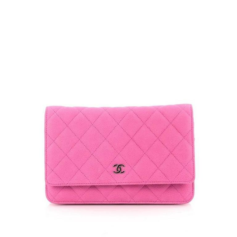 Pink Chanel Wallet on Chain Quilted Matte Caviar For Sale