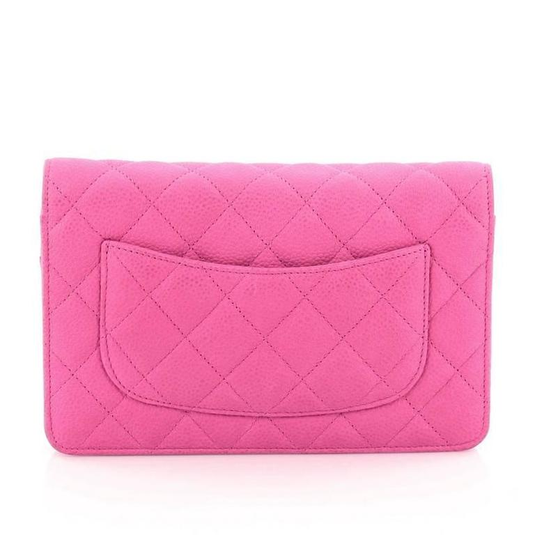 Women's or Men's Chanel Wallet on Chain Quilted Matte Caviar For Sale