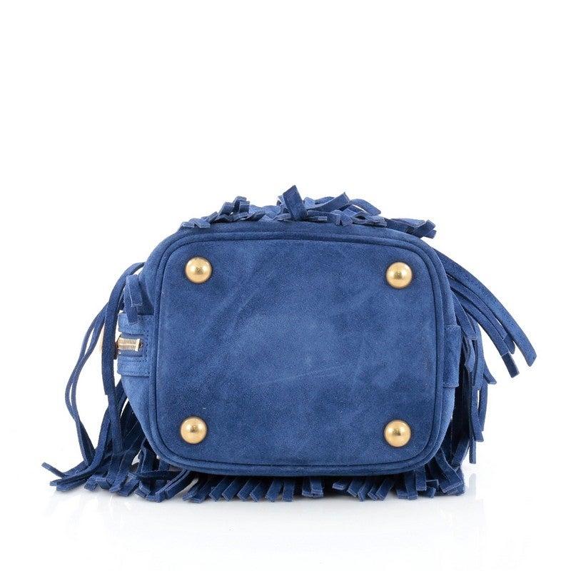 a64d009ce3ba Saint Laurent Fringe Emmanuelle Bucket Bag Suede Small at 1stdibs