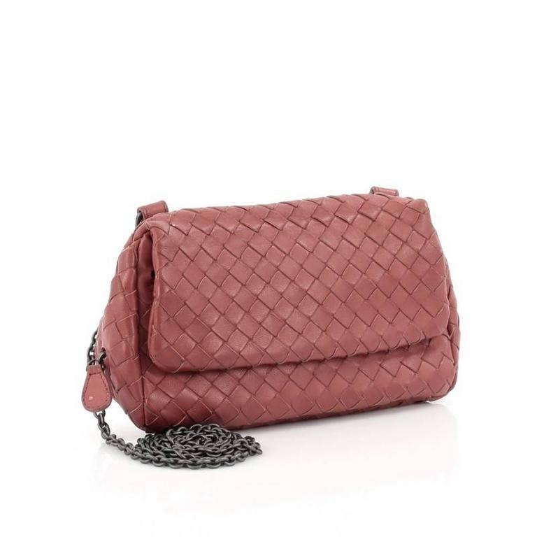 Brown Bottega Veneta Expandable Chain Crossbody Bag Intrecciato Na Small For