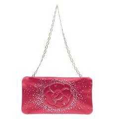 Chanel Camellia Diamante Convertible Clutch Satin Small