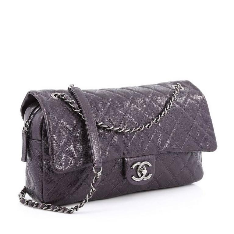 7a23a85c3ef5 Black Chanel Easy Flap Bag Quilted Caviar Jumbo For Sale