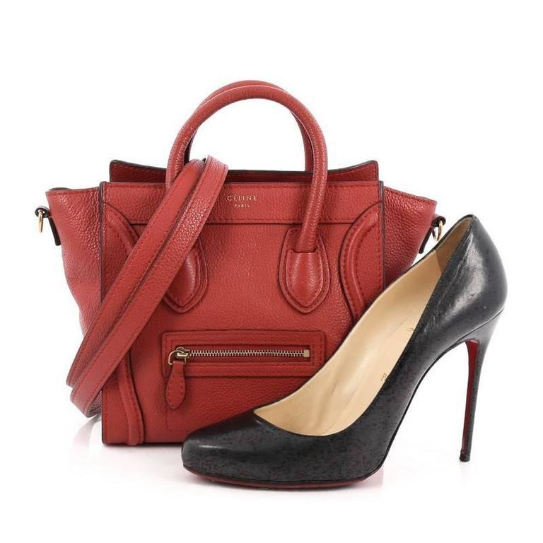 Celine Luggage Handbag Grainy Leather Nano 2