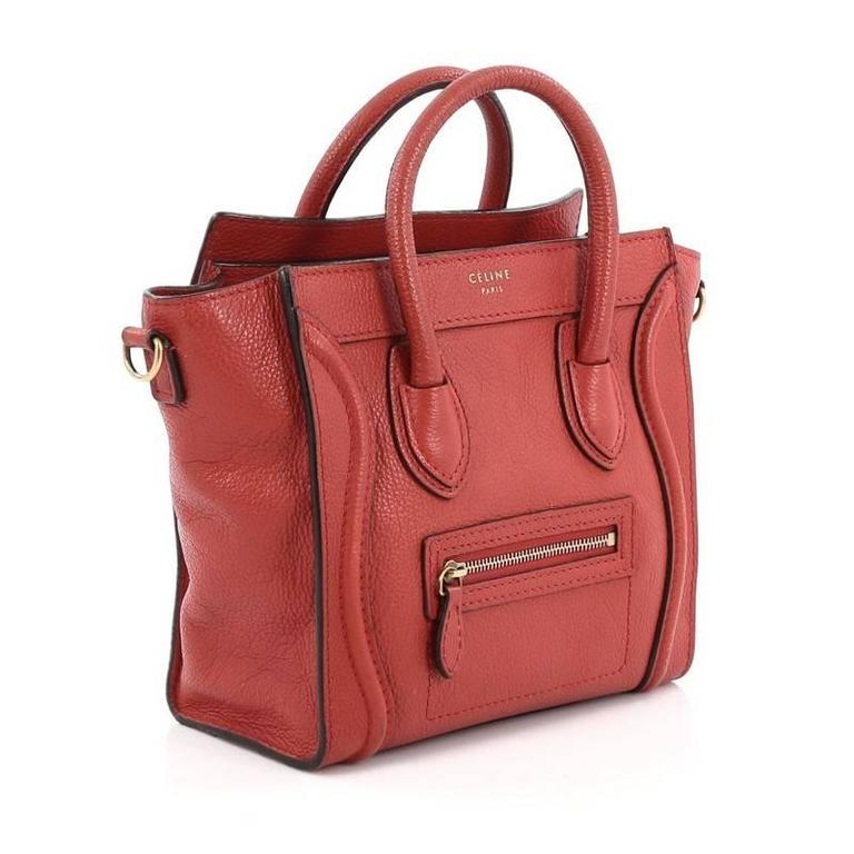 Red Celine Luggage Handbag Grainy Leather Nano For Sale