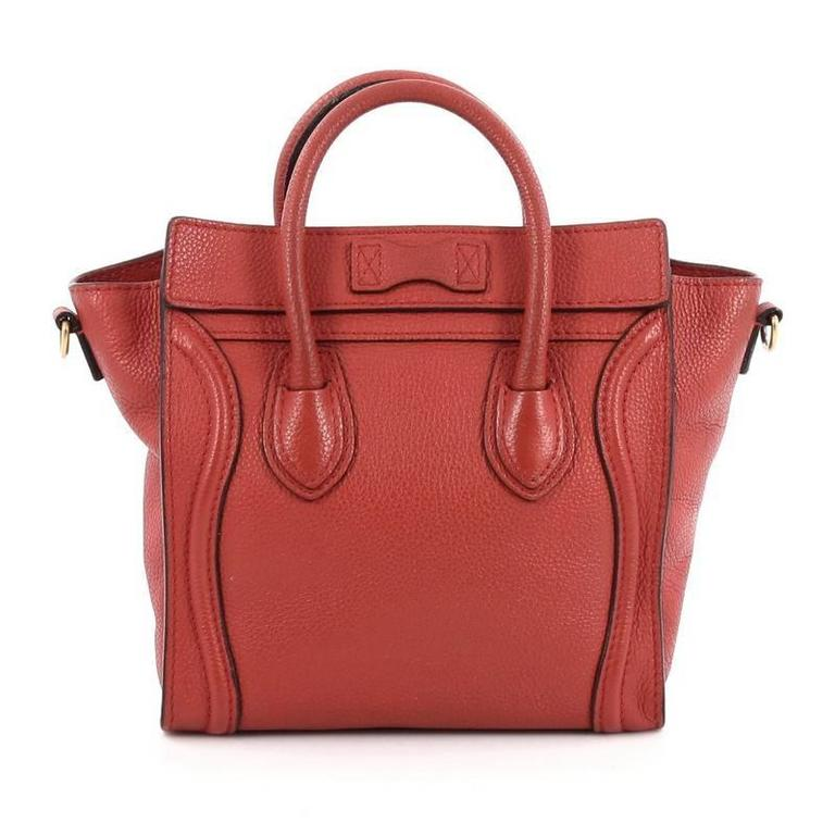 Celine Luggage Handbag Grainy Leather Nano In Good Condition For Sale In New York, NY