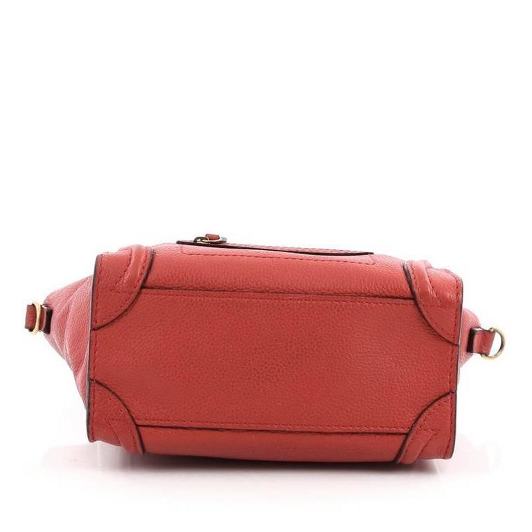 Celine Luggage Handbag Grainy Leather Nano 5