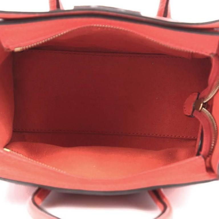 Celine Luggage Handbag Grainy Leather Nano 6