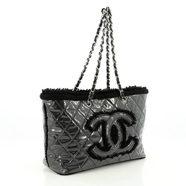 8b21de4a2db5c4 Black Chanel Funny Tweed Tote Quilted Vinyl Small For Sale