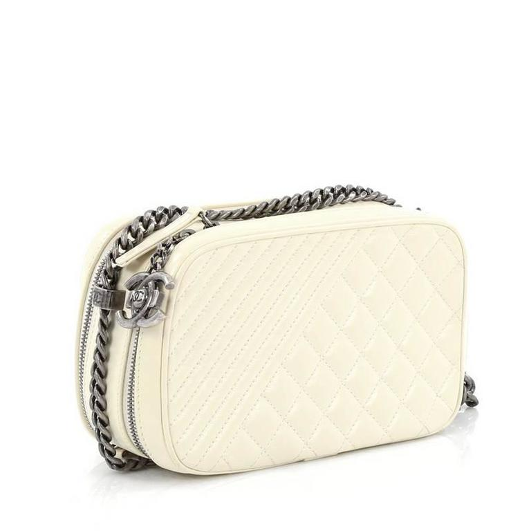 6be39e8d0404 Beige Chanel Coco Boy Camera Bag Quilted Leather Small For Sale