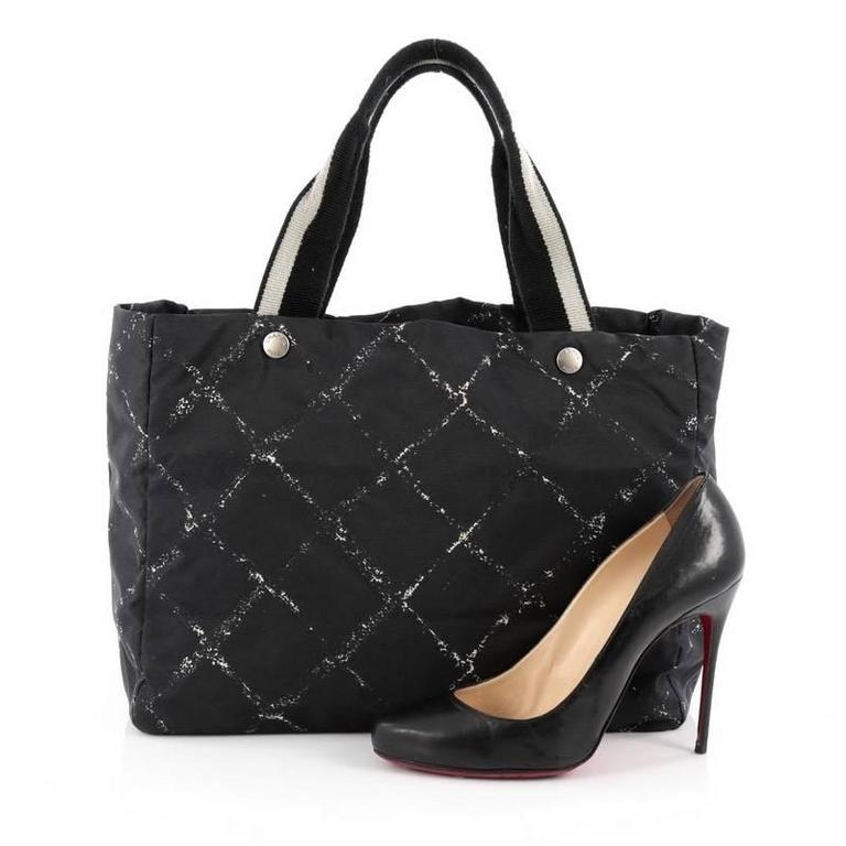 678d55443a1e Black Chanel Travel Line Tote Printed Nylon Large For Sale