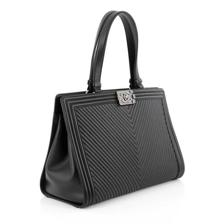 24b0f8f689f6 Black Chanel Boy Shopping Tote Chevron Quilted Calfskin Large For Sale