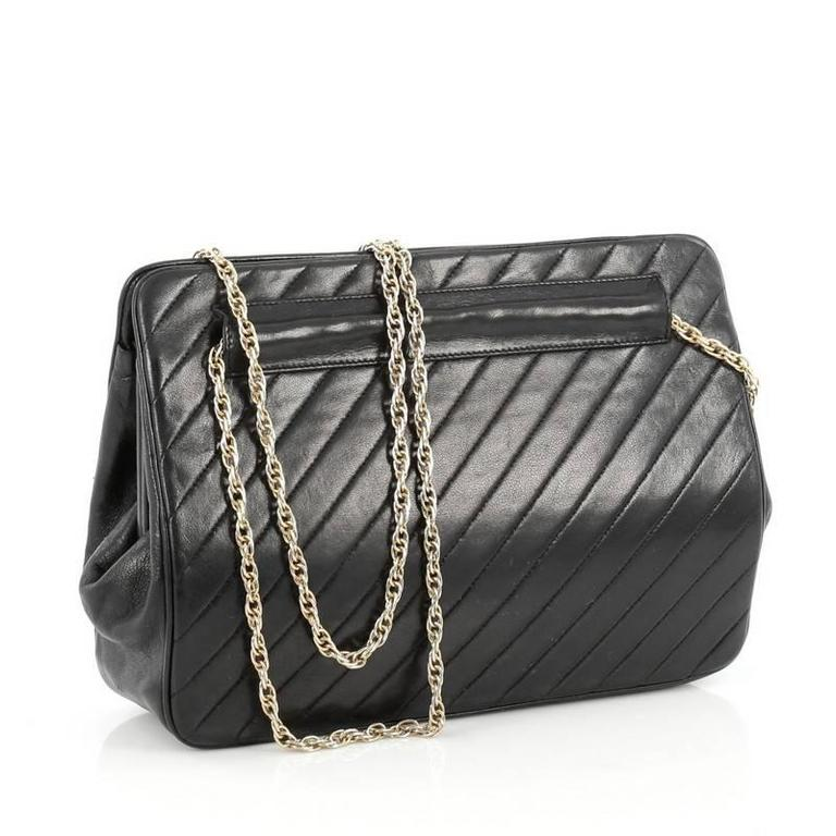 Black Chanel Vintage Frame Bag Diagonal Quilted Leather Small For Sale