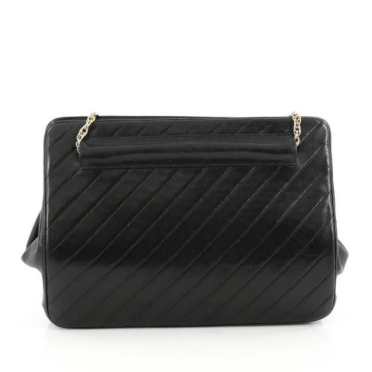 Chanel Vintage Frame Bag Diagonal Quilted Leather Small In Good Condition For Sale In New York, NY