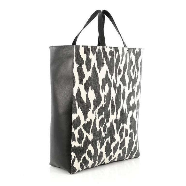 Celine Vertical Bi-Cabas Tote Printed Canvas and Leather Large 3