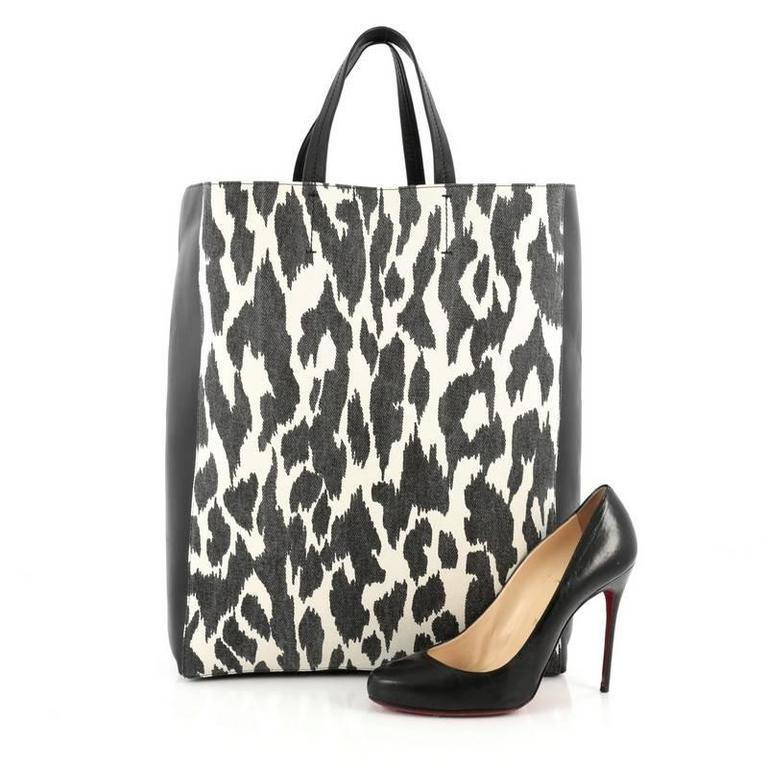 Celine Vertical Bi-Cabas Tote Printed Canvas and Leather Large 2