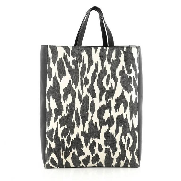Celine Vertical Bi-Cabas Tote Printed Canvas and Leather Large 4