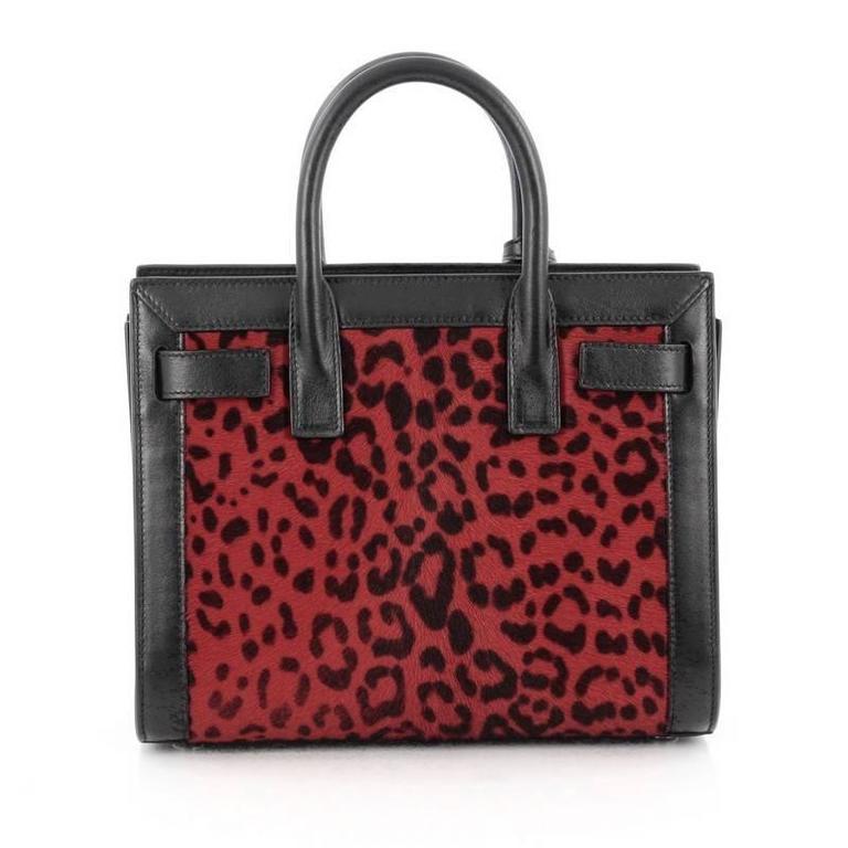 37c410d0ce Saint Laurent Sac De Jour Handbag Printed Calf Hair Nano In Good Condition  For Sale In