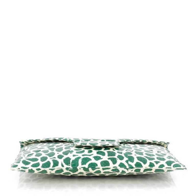 Women's or Men's Oscar de la Renta Grafton Flat Envelope Clutch Printed Snakeskin Large For Sale