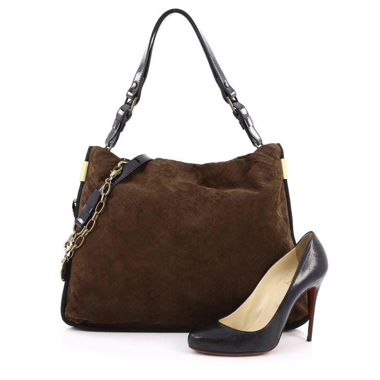 This Authentic Lanvin Amalia Bucket Bag Python Embossed Suede Large Is Classic And Feminine In Design