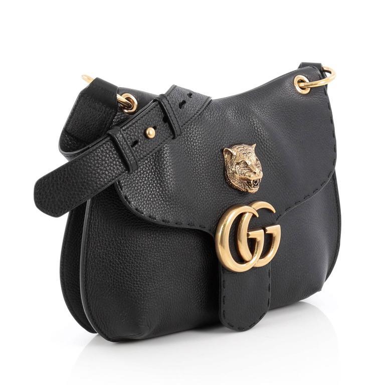 f5b39edf60ee Black Gucci GG Marmont Animalier Shoulder Bag Leather Medium For Sale