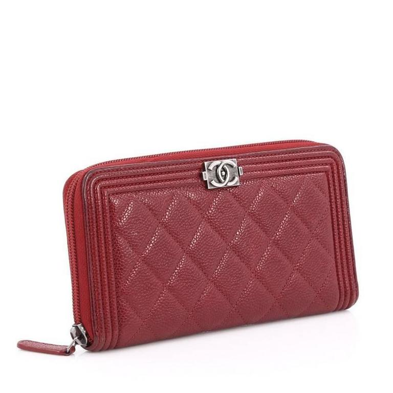 4b9b08719f48fb Brown Chanel Boy L-Gusset Zip Wallet Quilted Caviar Long For Sale