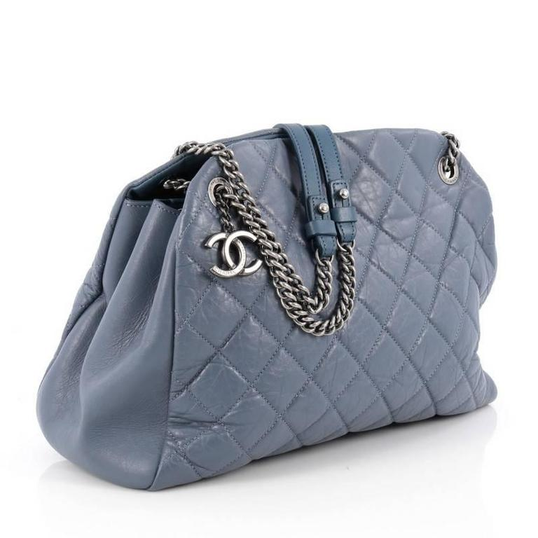 3289966582dc Gray Chanel Aged Chain Mademoiselle Bowling Bag Quilted Aged Calfskin Large  For Sale