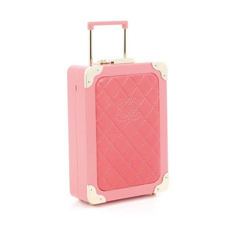 Pink Chanel Trolley Minaudiere Plexiglass and Quilted Lambskin For Sale