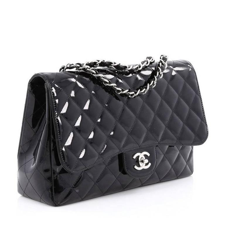 5f18553864c7 Black Chanel Classic Single Flap Bag Quilted Patent Jumbo For Sale