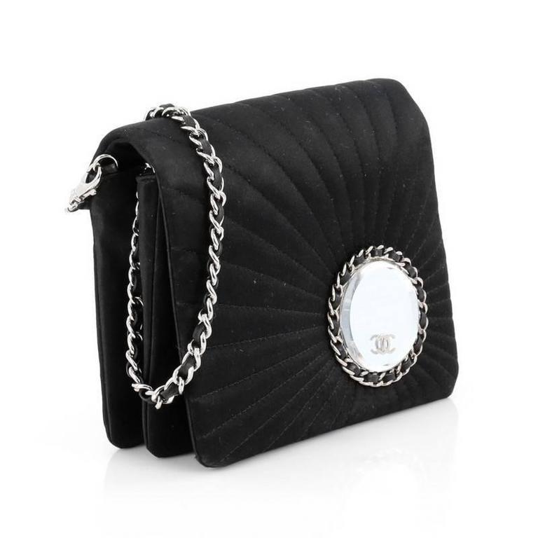 178e3839b77764 Black Chanel Vanity Flap Evening Bag Embellished Quilted Satin For Sale