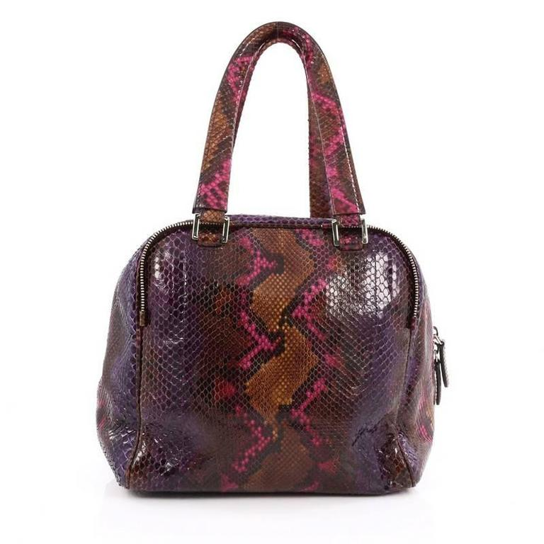 Jimmy Choo Justine Tote Python Small In Good Condition For Sale In New York, NY