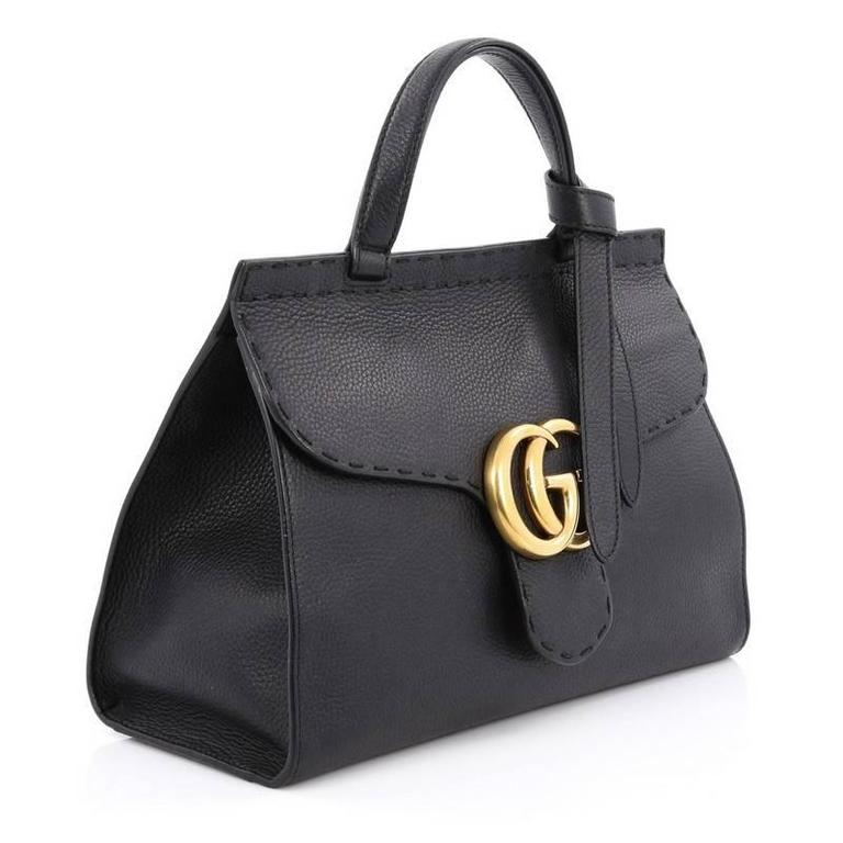d79b459835a Black Gucci Marmont Top Handle Bag Leather Small For Sale