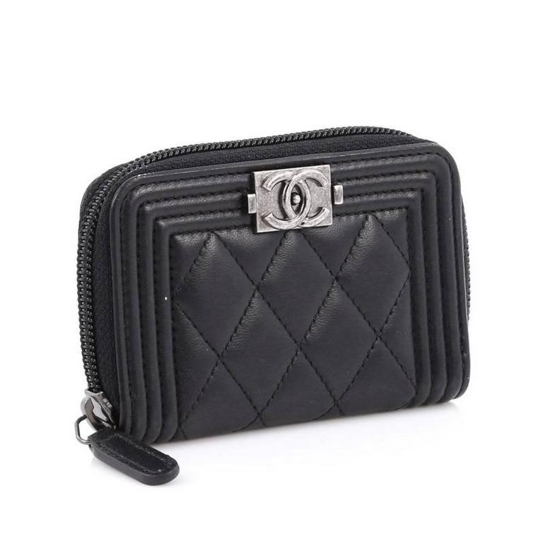 a79d6d30c91 Black Chanel Boy Coin Purse Quilted Lambskin Small For Sale