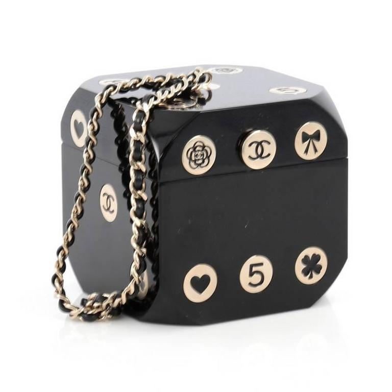bcf74be6a Black Chanel Dice Minaudiere Plexiglass For Sale