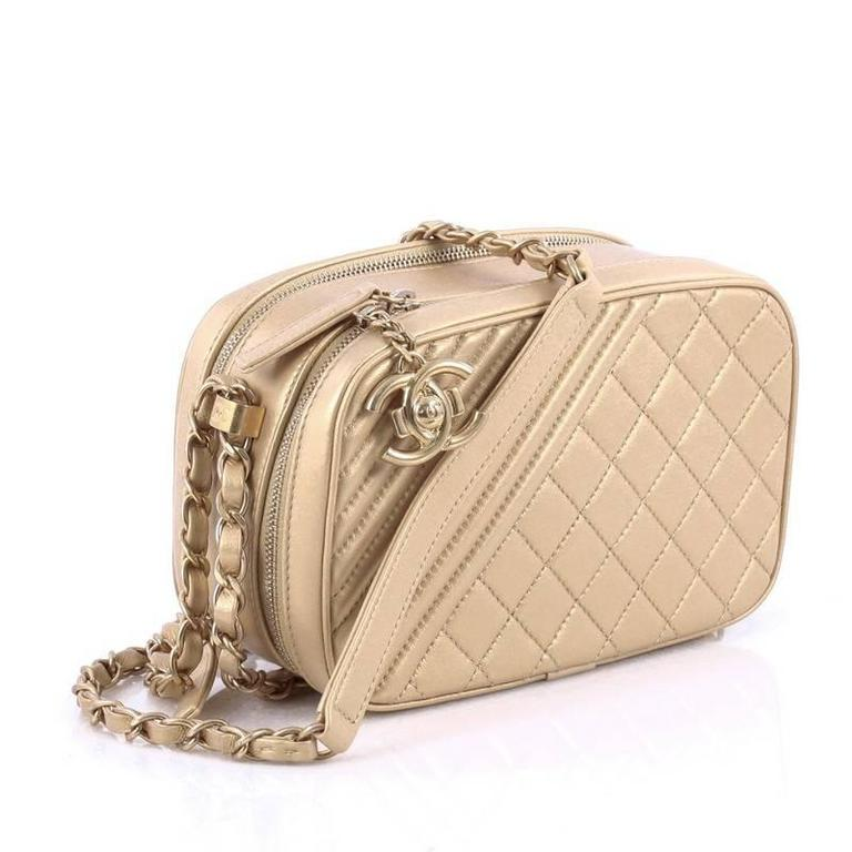 edf6f0293e9b80 Beige Chanel Coco Boy Camera Bag Quilted Leather Small For Sale