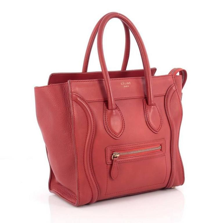Celine Luggage Handbag Grainy Leather Micro 3