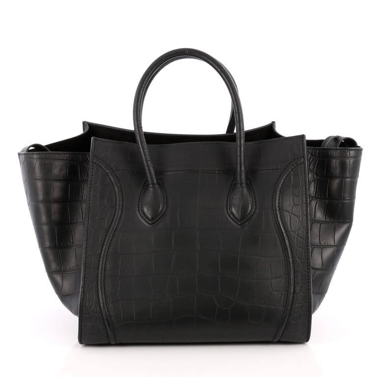 Celine Phantom Handbag Crocodile Embossed Leather Medium In Good Condition For Sale In New York, NY