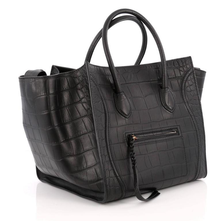 Celine Phantom Handbag Crocodile Embossed Leather Medium 3
