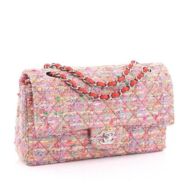 2665c89cce97c1 Beige Chanel Classic Double Flap Bag Multicolor Quilted Tweed Medium For  Sale