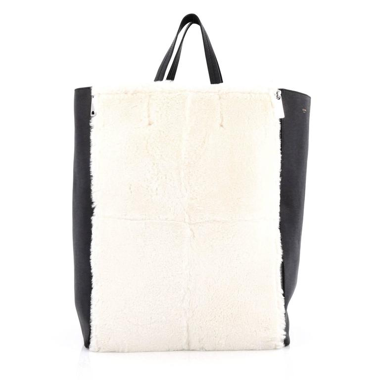 White Celine Vertical Gusset Cabas Tote Shearling and Leather Large For Sale